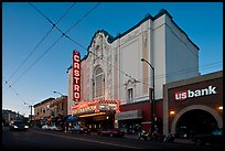 Castro theater at dusk. San Francisco, California, USA (color)