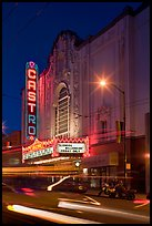 Light blurs and Castro Theater at night. San Francisco, California, USA ( color)