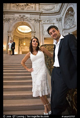 Couple waiting to be married, City Hall. San Francisco, California, USA (color)