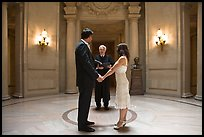 Couple taking marriage wows, City Hall. San Francisco, California, USA ( color)