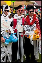 Students dressed up in creative costumes giving thanks to parents. Stanford University, California, USA (color)