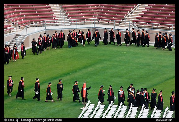 Class of 2009 lines up to seat for commencement. Stanford University, California, USA (color)
