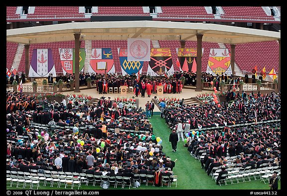 Beginning of commencement ceremony. Stanford University, California, USA (color)