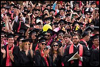Graduating students wave to family and friends, commencement. Stanford University, California, USA (color)