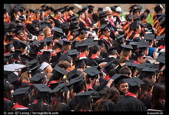 Graduating students in academic gowns and caps. Stanford University, California, USA (color)