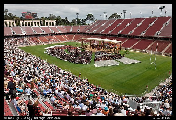 Commencement taking place in stadium. Stanford University, California, USA (color)