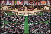 Students and university officials during commencement ceremony. Stanford University, California, USA (color)