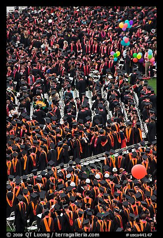 Dense rows of graduating college students in academic heraldy. Stanford University, California, USA (color)