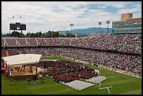 Stanford Stadium during graduation ceremony. Stanford University, California, USA (color)
