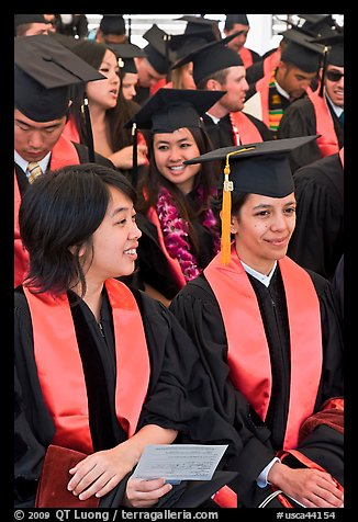Students in academical dress sitting during graduation ceremony. Stanford University, California, USA (color)