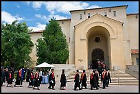 Graduates walking single file into Memorial auditorium. Stanford University, California, USA ( color)