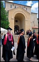 Students in academicals lined up in front of Memorial auditorium. Stanford University, California, USA (color)