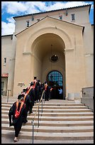 Graduating students in academic robes walk into Memorial auditorium. Stanford University, California, USA ( color)