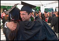 Just graduated students hugging each other. Stanford University, California, USA