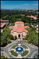 Fountain and Memorial auditorium seen from Hoover Tower. Stanford University, California, USA (color)