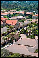Memorial Church and Quad seen from above. Stanford University, California, USA