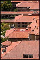 Red tiles rooftops seen from above. Stanford University, California, USA