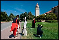 Conversation and picture taking after graduation. Stanford University, California, USA (color)
