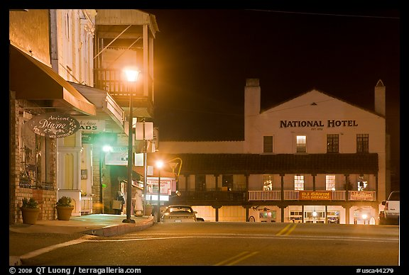 Main Street And National Hotel By Night Jackson California Usa