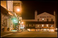 Main street and National Hotel by night, Jackson. California, USA (color)