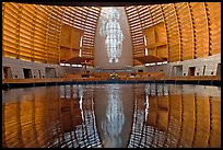 Interior reflected in Baptismal font, Oakland Cathedral. Oakland, California, USA ( color)