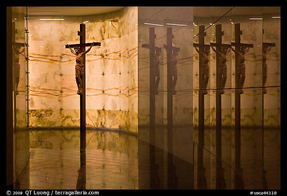 Christ and reflections, mausoleum, The Cathedral of Christ the Light. Oakland, California, USA (color)