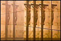 Multiple reflections of Christ, mausoleum, Christ the Light Cathedral. Oakland, California, USA (color)