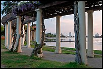 Colonade at dusk, Lake Meritt. Oakland, California, USA (color)