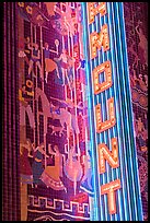 Neon lights and art deco mosaic, Paramount Theater. Oakland, California, USA (color)