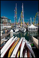 Kayaks and yachts, Jack London Square. Oakland, California, USA