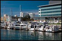 Marina and yachts, Jack London Square. Oakland, California, USA (color)