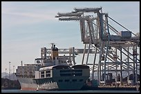 Cranes and cargo ship, Oakland port. Oakland, California, USA (color)