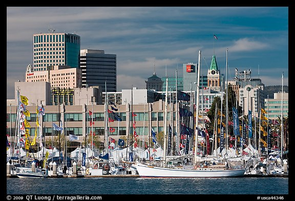 Marina and skyline. Oakland, California, USA (color)