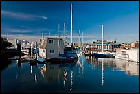 Alameda Houseboats and Oakland skyline. Oakland, California, USA (color)