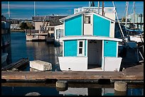 Houseboat, Oakland Alameda harbor. Alameda, California, USA (color)