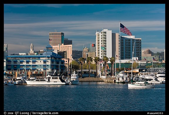 View of Oakland harbor and Jack London Square. Oakland, California, USA (color)