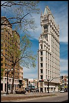 Historic flatiron building called Cathedral Building. Oakland, California, USA ( color)