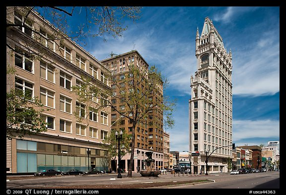 Broadway street and Cathedral Building. Oakland, California, USA (color)