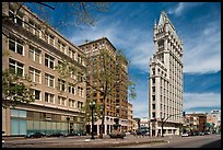 Broadway street and Cathedral Building. Oakland, California, USA ( color)