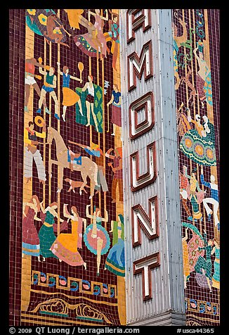 Detail of art deco mosaic, Paramount Theater. Oakland, California, USA (color)
