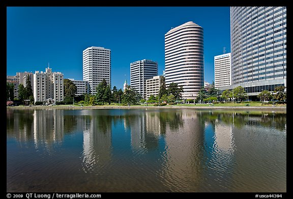 High rise buildings on Lake Merritt shores. Oakland, California, USA (color)