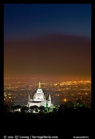 Oakland california temple and SF Bay by night. Oakland, California, USA