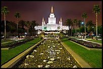 Oakland Mormon temple and grounds by night. Oakland, California, USA (color)