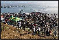 Crowds gather for mavericks competition. Half Moon Bay, California, USA (color)