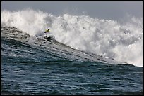 Surfer in Maverick wave. Half Moon Bay, California, USA (color)