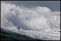 Surfer in Mavericks break. Half Moon Bay, California, USA