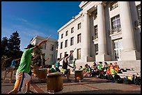 Students practising drums. Berkeley, California, USA (color)