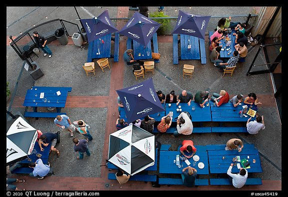 Bar tables from above. Berkeley, California, USA (color)