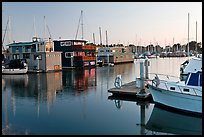 Houseboats in Berkeley Marina, sunset. Berkeley, California, USA (color)