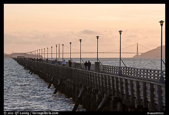 Stroll on Berkeley Pier. Berkeley, California, USA (color)
